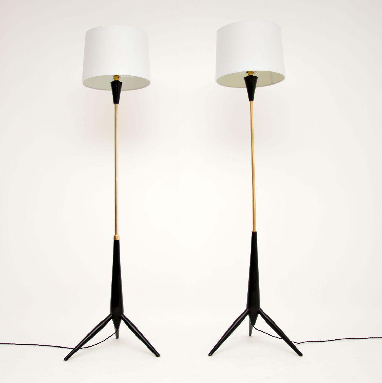pair retro vintage tripod floor lamps