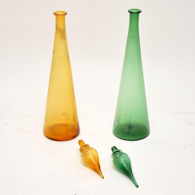 pair of retro vintage italian glass decanters