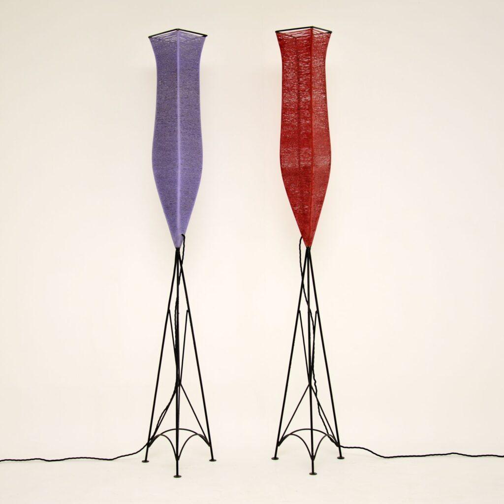 pair of retro vintage floor lamps