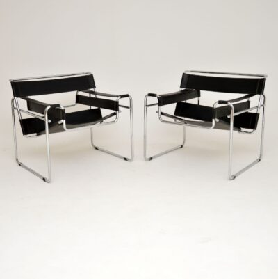 pair of retro vintage leather chrome marcel breuer wassily chairs armchairs