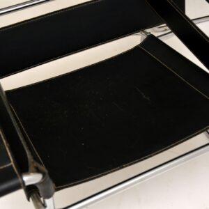 pair marcel breuer wassily armchairs leather chrome gavina