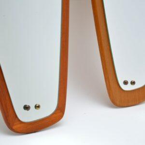 pair retro vintage teak danish mirrors