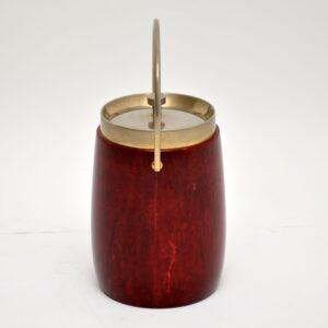 retro vintage lacquered parchment goat skin ice bucket aldo tura