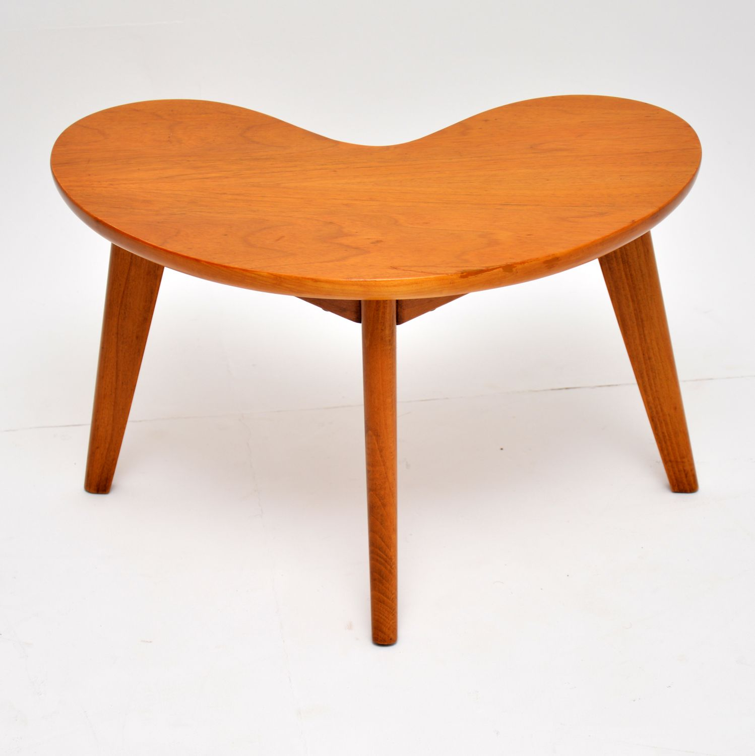 retro vintage walnut boomerang coffee side table
