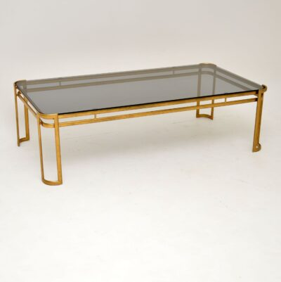retro vintage italian brass glass coffee table