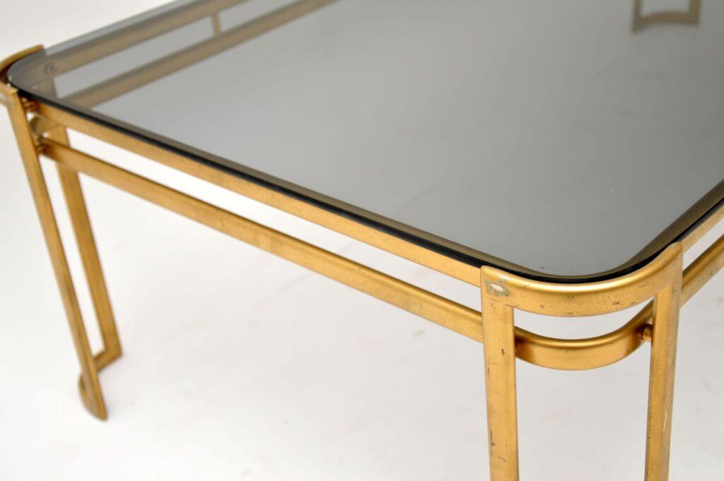 retro vintage italian brass glass coffee table