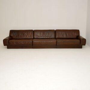 1960's Vintage Leather Modular Sofa by De Sede