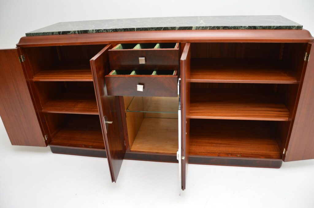 art deco french rosewood marble chrome sideboard