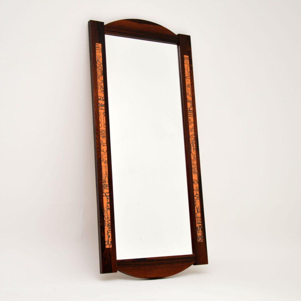 danish rosewood vintage retro mirror