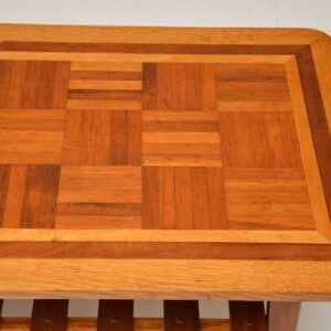 1960's Vintage Coffee Table Inlaid with Various Woods
