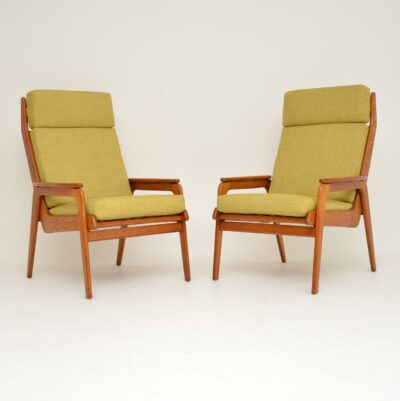 retro vintage danish dutch teak oak armchairs