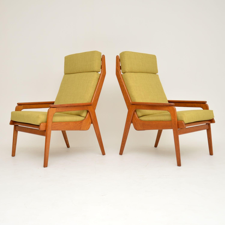 retro vintage danish dutch teak oak armchairs