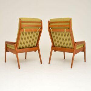 1960's Pair of Vintage Dutch Teak & Oak Armchairs
