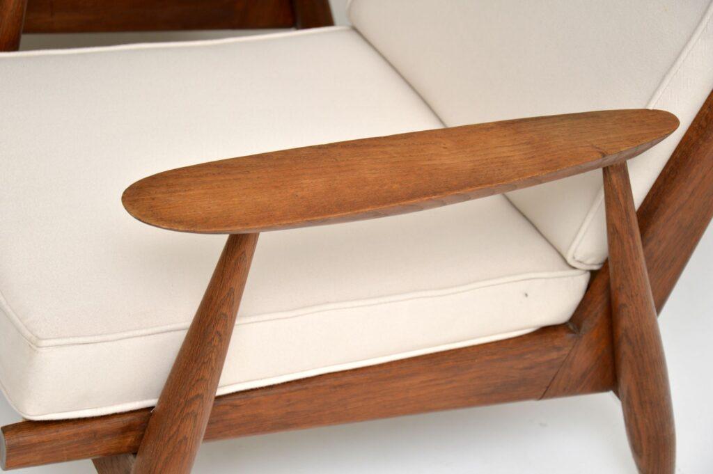 pair of danish retro vintage oak armchairs