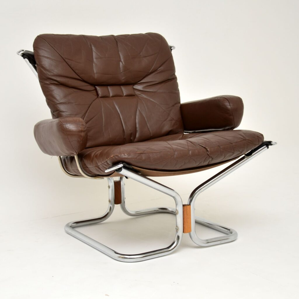 pair of retro vintage leather chrome rosewood armchairs ingmar relling