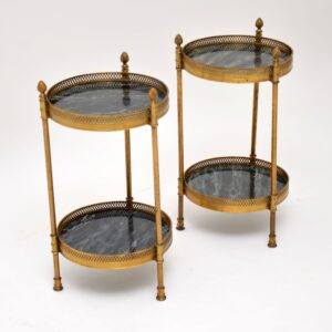 pair of retro vintage brass tables