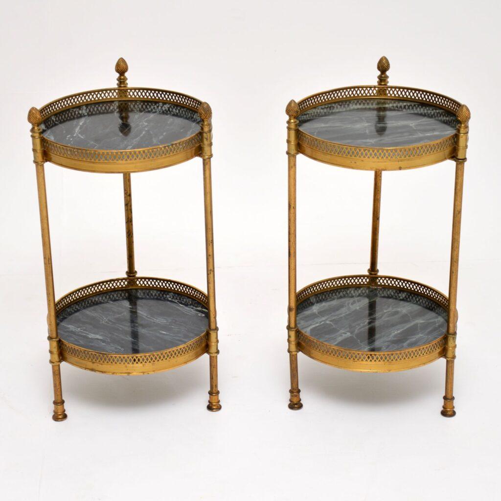 pair of retro vintage brass tables