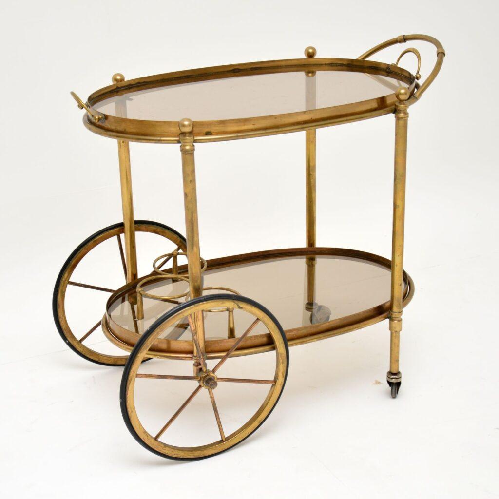 retro vintage brass french drinks trolley