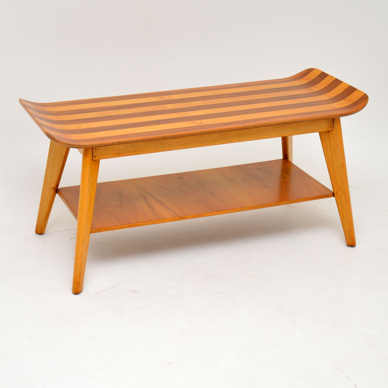 retro vintage gondola walnut coffee table