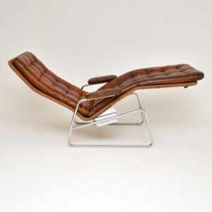1970's Swedish Leather Chaise by Sam Larsson for Dux