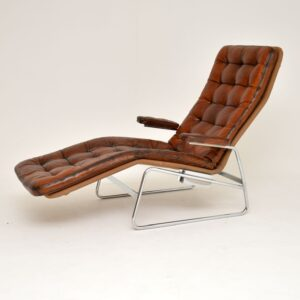 retro vintage swedish leather chaie lounge sam larsson dux