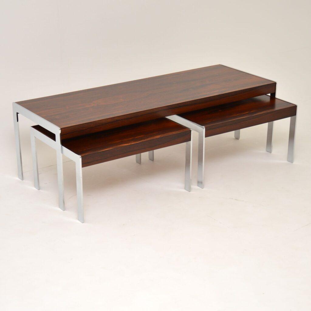 retro vintage rosewood chrome merrow associates nest coffee table side tables