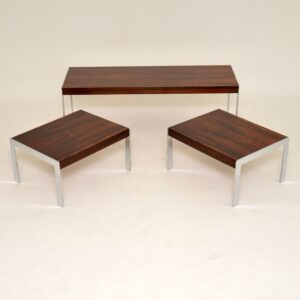 retro vintage rosewood chrome merrow associates nest coffee table side tables