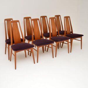 set of 8 danish retro vintage teak dining chairs niels koefoed