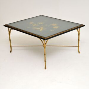 1970's Vintage Decorative Brass & Lacquered Chinoiserie Coffee Table