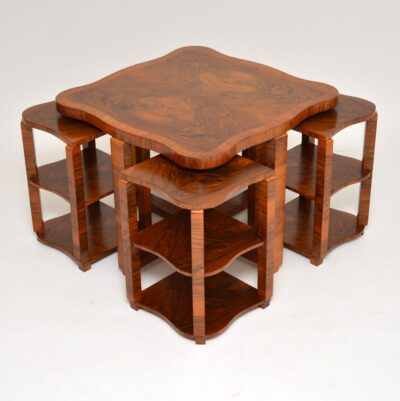 art deco walnut nesting coffee table