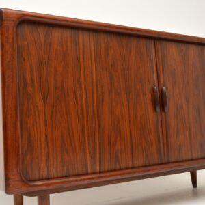 danish rosewood retro vintage sideboard tambour doors dyrlund