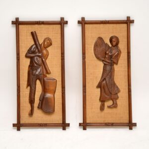 pair of retro vintage walnut carved reliefs wall art