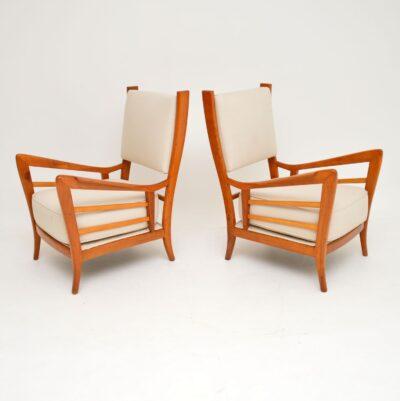 pair of retro vintage italian armchairs gio ponti