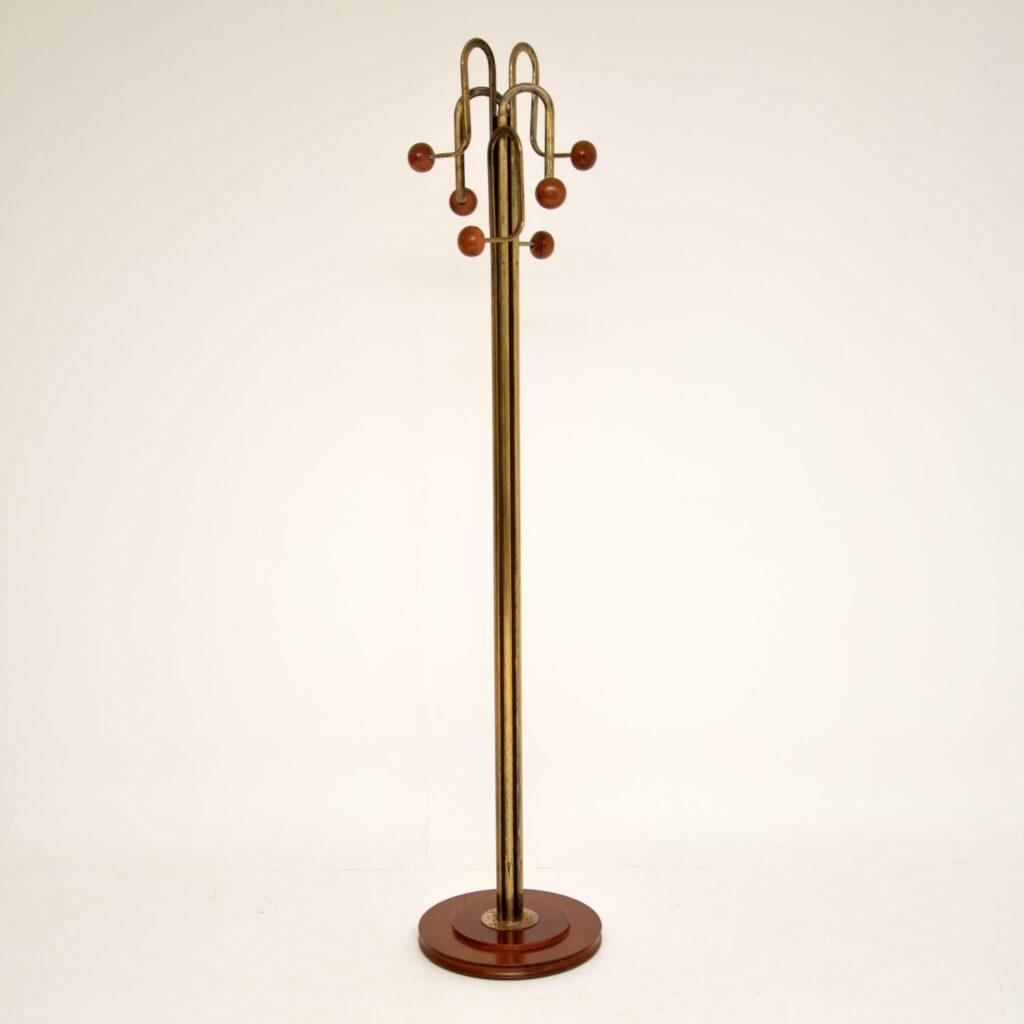 retro vintage brass wood hatstand coat rack