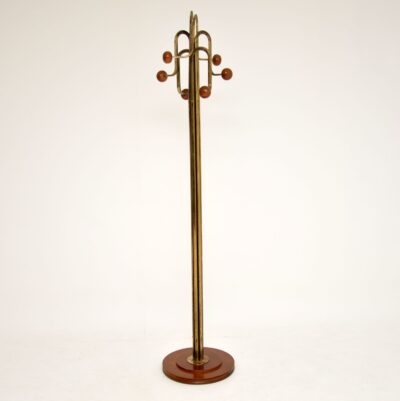 retro vintage brass wood hatstand coat rack