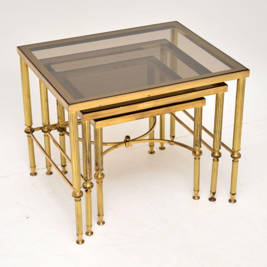retro vintage antique italian brass glass nest of tables