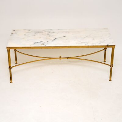 retro vintage antique brass marble italian coffee table