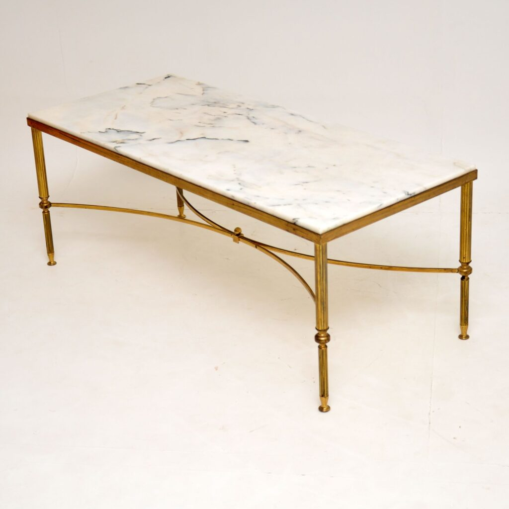 retro vintage antique brass marble italian coffee table