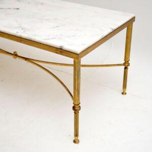 1950's Italian Vintage Brass & Marble Coffee Table