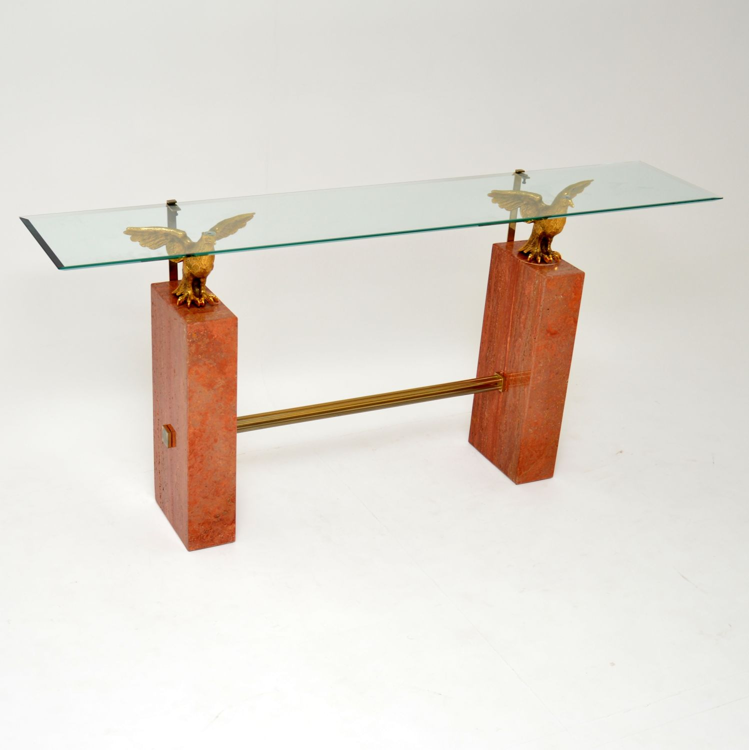 retro vintage antique marble brass console table