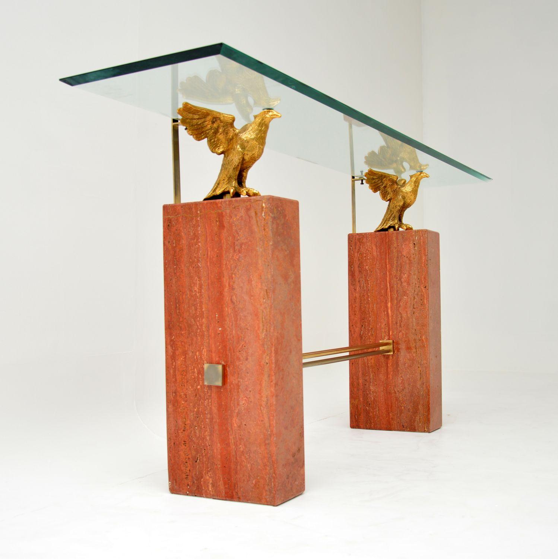 retro vintage antique marble brass console table