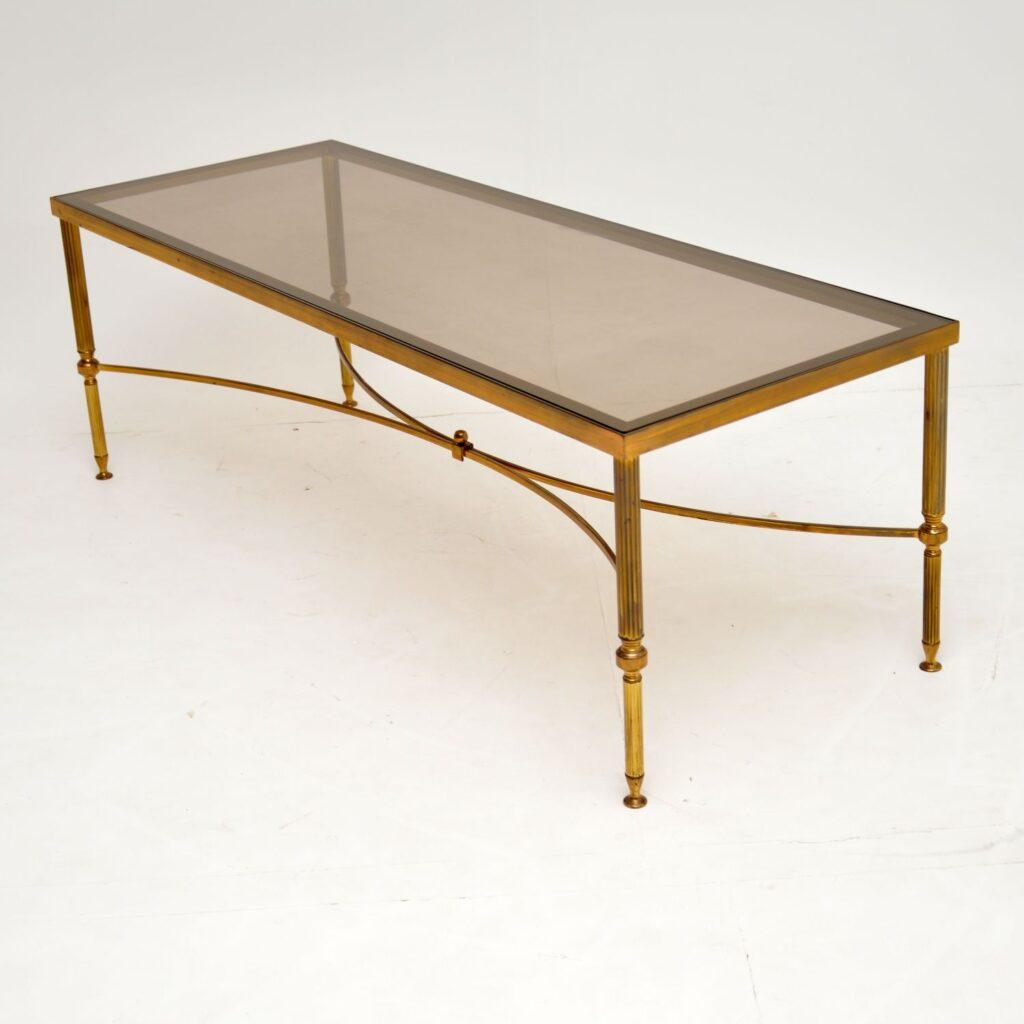 retro vintage antique brass glass italian coffee table