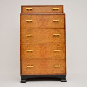 art deco antique elm walnut chest of drawers