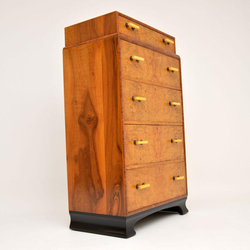 art deco antique elm walnut chest of drawers