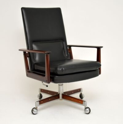 arne vodder leather rosewood executive desk chair