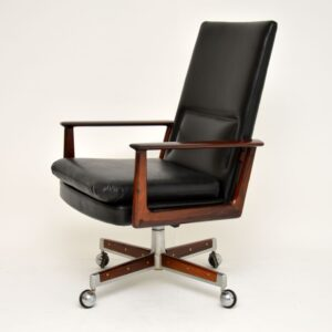 Danish Rosewood & Leather Desk Chair by Arne Vodder