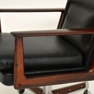 arne vodder leather rosewood executive desk chair