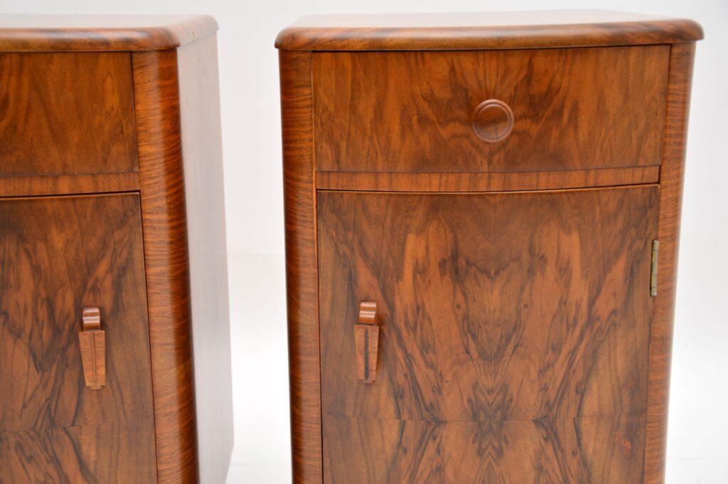 pair of art deco walnut bedside cabinets