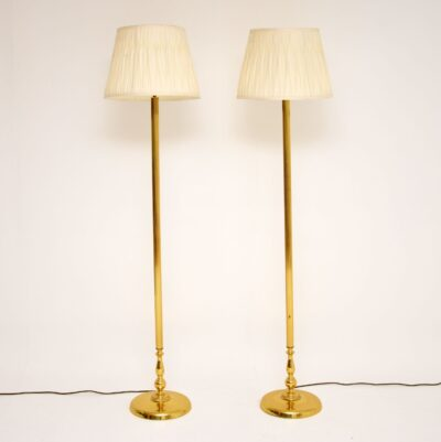 pair retro vintage brass floor lamps
