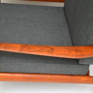 pair of danish retro vintage teak armchairs by grete jalk